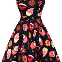 Black Tea Cups & Cupcakes Tea Dress