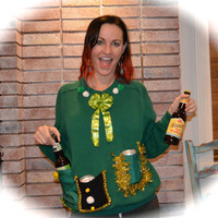 Beer Holder sweater, St. Patricks day, Ugly Christmas Sweater, Large, party sweater, alcohol, drink holder, st pattys