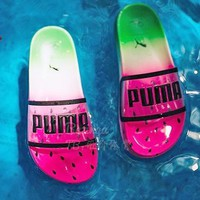 Puma x Sophia Webster Watermelon Slippers Jelly Transparent   Green&Pink