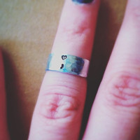 Semicolon Above the Knuckle or Pinkie Ring / Stackable Ring / Adjustable Ring /  Name Ring / heart ring