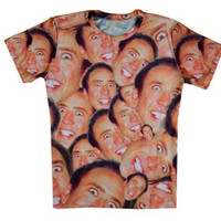 Get in the Cage! Nicholas Cage Internet Meme Sublimation Print Shirt