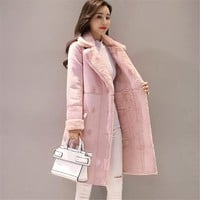Trendy New Women Long Coat Autumn Winter Warm Velvet Thicken Faux Suede Coats Parka Female Solid Double Breasted Jacket Outwear AB691 AT_94_13