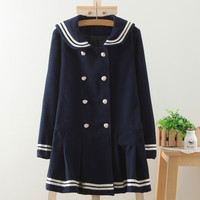 Double-Breasted Front Sailor Collar Coat