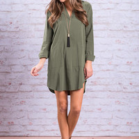 Rightly Recruited Dress, Olive