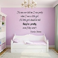Wall Decals Vinyl Decal Sticker Children Kids Nursery Baby Room Interior Design Home Decor Marilyn Monroe Quotes All Little Girls Should Be Told They Are Pretty Even If the Aren't Kg720
