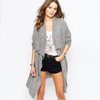 Grey Long Sleeve Fall Fashion Sweater