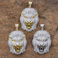 Lion Pendant Fully Iced Out Lab Diamond