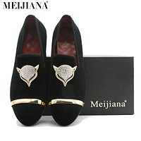 Handmade Men Suede Leather Fox Metal Buckle Pointed Toe Shoes