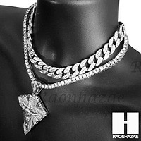Hip Hop Silver Jesus Cross Miami Cuban Choker Tennis Chain Necklace AS