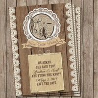 Country, Western, Wedding Invitation ,Rustic, Wood and Lace, Digital file, Printable