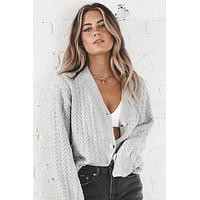 Kiss Me Or Miss Me Gray Button Up Cardigan