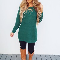 The Perfect Lace Up Sweater: Emerald Green