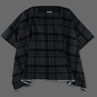 MILL MERCANTILE - Toujours - Wool Tartan Plaid Square Neck Poncho in Gray