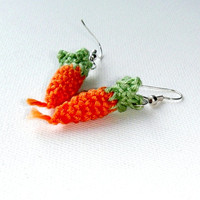 Orange Earrings Carrot handmade Lovely jewelry Crochet jewelry Spring Summer fashion