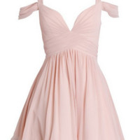 Baby Pink Elegant A-line Sweetheart Ruched Short Chiffon Homecoming Dress