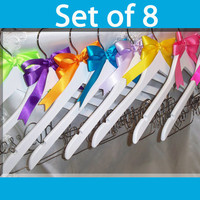 Set of 8 - Personalized Wedding Hanger  Bridesmaid hanger  Bridal Hanger  Bride Hanger  Bridesmaid gift  Wedding Hanger Custom Hanger
