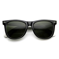 Large Retro Two Tone Horned Rim Sunglasses 8729