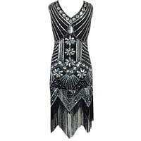 Women Vintage 1920s Gastby Sequin Art Nouveau Embellished Costume V-Neck Paisley Fringed Flapper Dress With Colorful Beads
