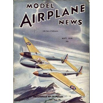 Model Airplane News 1939 poster Metal Sign Wall Art 8in x 12in