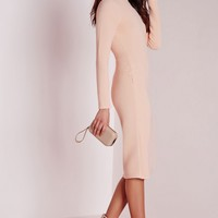 Missguided - roll neck ribbed midi dress pale pink