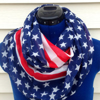 Infinity scarf - Patriotic scarf - stars and stripes print - loop scarf - women - teens