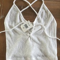 NWT Brandy Melville John Galt Tank Crop Top Lace Up Bethany White OS Criss Cross