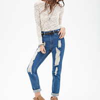 FOREVER 21 High-Rise - Distressed Relaxed Fit Jeans