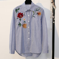 Flowers embroidered shirt spring fashion women lapel shirt top blue