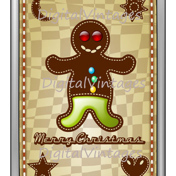 Digital Image Gingerbread Man Merry Christmas Card Download Printable Graphic Clip Art for Transfers Making Prints HQ SVG,jpg,png 300dpi