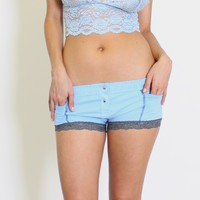 FOXERS - Lt Blue Boxer Brief Lt Gray Stripe FOXERS Band