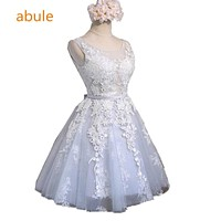 abule 2017 summer Bridesmaid Dresses lace Flower Unique Empire Waist Short Wedding Junior Bridesmaid Dresses