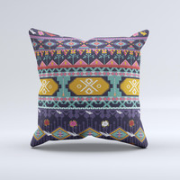 Vector Purple and Colored Aztec pattern V4 Ink-Fuzed Decorative Throw Pillow