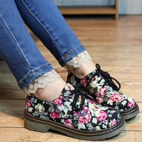 New Women's Pointy Toe Brogue Shoes Colorblock Punk Lace Up Pumps Casual Loafers