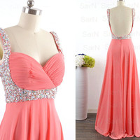 Coral Long Prom Dresses, Custom Coral Straps with Beading Long Formal Gown, Sequin Straps Long Coral Prom Gown