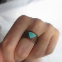 wide ring, turquoise bronze vintage ring, geometric bronze ring, painted ring, cuff, one of a kind // R417
