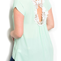Mint Plus Size Chic Sheer Floral Laced Keyhole Back Short Sleeve High Low Top