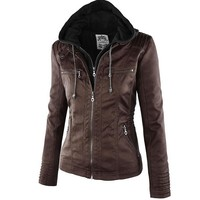Casual Leather Hooded Jacket