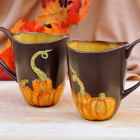 Set of Two Halloween Pumpkins Coffee Mugs - Hand painted - Autumn Home Decor - Thanksgiving Kitchen Decor