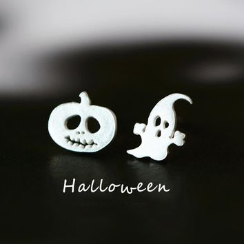 925 Silver Korean Simple Design Halloween Ghost Earrings [11639786580]