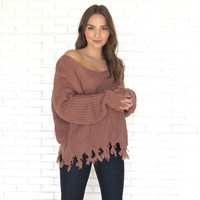 All Tied Up Marsala Knit Sweater