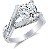 Solid 14k White Gold Princess Cut Solitaire with Round Side Stones Highest Quality CZ Cubic Zirconia Engagement Ring 2.5ct.
