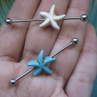 16 Gauge Turquoise Starfish Industrial Barbell Piercing Ear Bar Earring White Blue