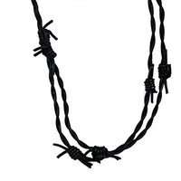 Leather Barbed Wire Necklace Gothic Design Jewelry