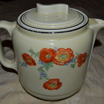 Coffee Pot Orange Poppy HALL Superior China Teapot with S lid Large 10 Cup Art Deco Style