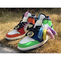 NIEK Air Jordan 1 Mid gold watch lace buckle colorblock high-top basketball shoes