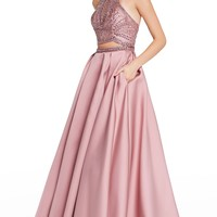 Alyce 60223 Two Piece Beaded Halter Dress