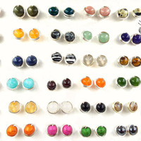 Gemstone Stud Earrings/Small Silver Plated Ear Studs/Tiny Earrings/Gold Plated Studs/Raw/Boho/Bohemian/Hippie/Gift for her/Statement/Nature