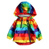 Striped Hooded Jackets Zip Up Toddler Rain Coat