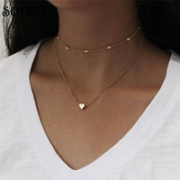 SOHOT Lovely Cute Heart Charm Necklace for Women Choker Multi Layers Beads Chain Party Boho Jewelry Bijoux Valentine's Day Gifts