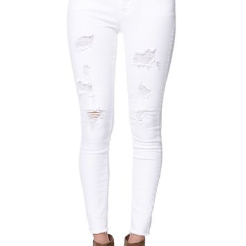 Bullhead Denim Co High Rise Ripped & Destroyed Skinniest Jeans - Womens Jeans - White -